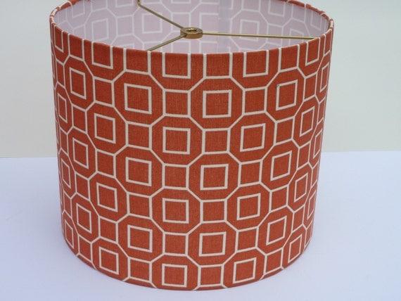 Drum Lamp Shade In Orange Geometric Fabric