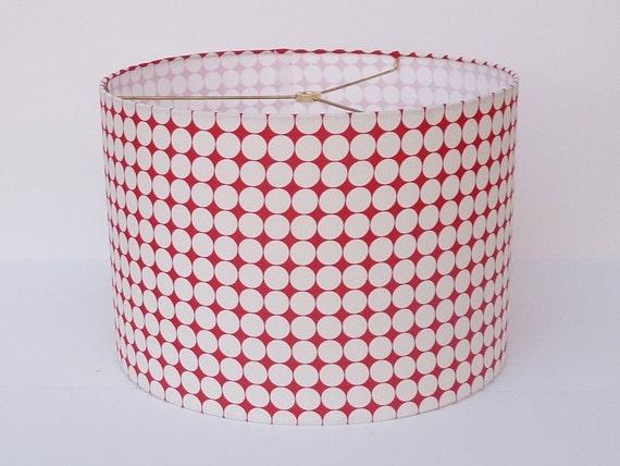 Medium Drum Lamp Shade - Red Circles Fabric