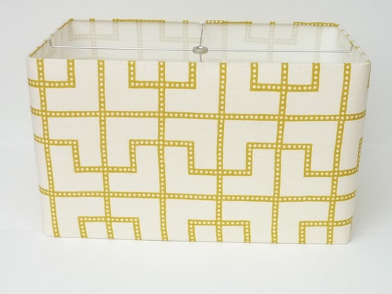 """Reserved for Heather 12"""" L x 5.5"""" W x 7"""" H Rectangle Lamp Shade in Schumacher Bleecker Linen Brushed Silver Spider"""