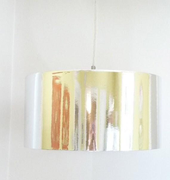 Silver Metallic Drum Shade Hanging Pendant Light