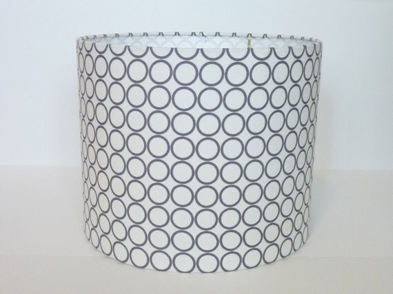 """Reserved for Lauren 8""""D X 10""""H Drum Lampshade with bulb clip- Robert Kaufman Metro Living Circles in Grey"""