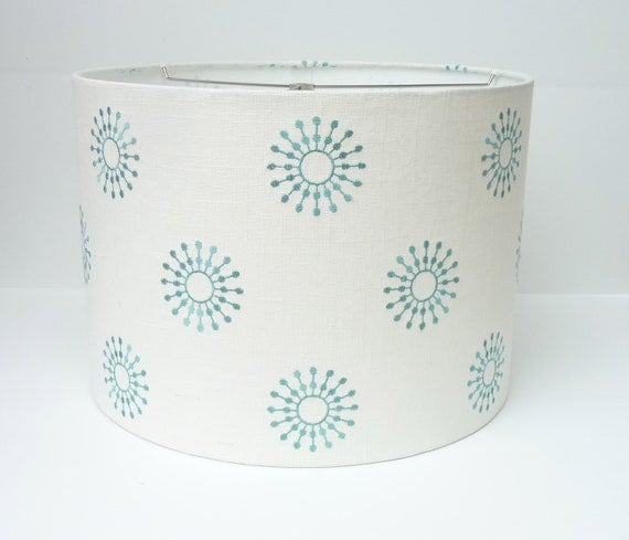 Drum Lamp shade in aqua embroidered fabric