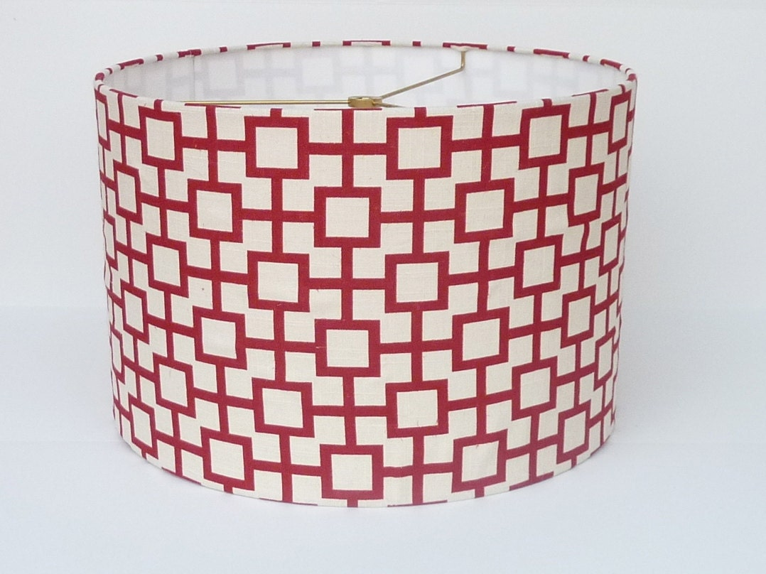 medium drum lamp shade red geometric linen by lampshadedesigns. Black Bedroom Furniture Sets. Home Design Ideas
