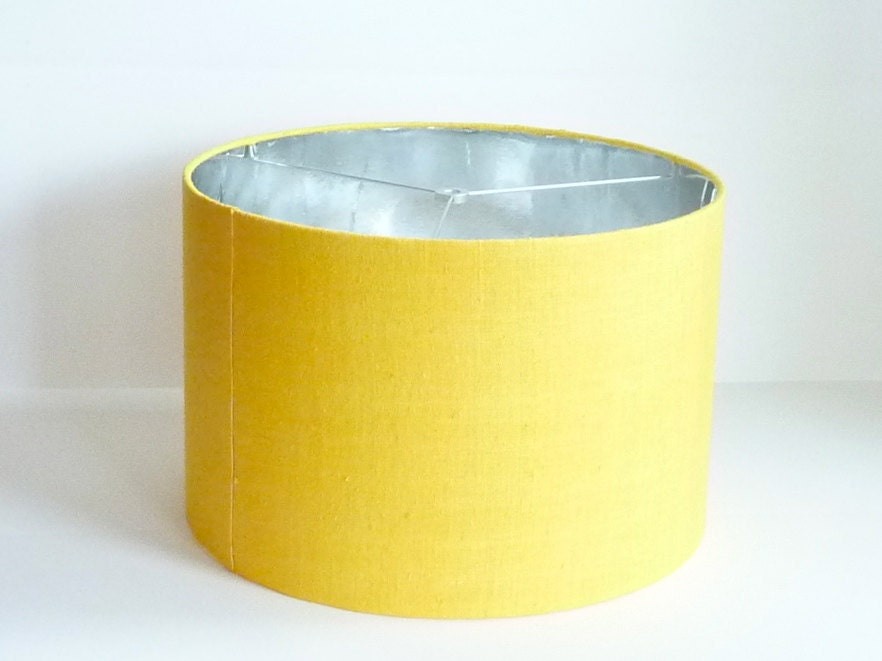 medium drum lamp shade in yellow raw silk with silver foil. Black Bedroom Furniture Sets. Home Design Ideas