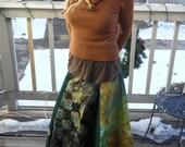 Green batik wrap around skirt