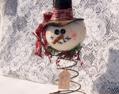 Primitive Snowman nodder make do ornie tea dyed  tree topper rusty spring warm and natural