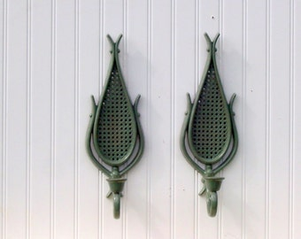 wall sconce, sage green,homco, two pcs, upcycled vintage,  wall decor,  beachy