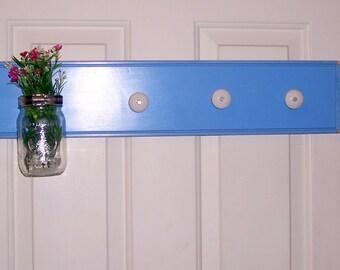 Shabby country coathook shelf flower vase beachy french country spa blue farmhouse chic