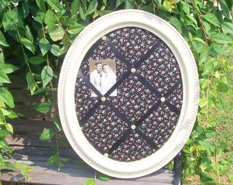 memory board, weddings, shabby chic, upcycled homco, vintage black print, creamy ivory