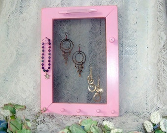 jewelry wall hanger soft pink wooden earring holder peg rack shabby chic girly girl