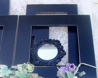 Romantic black  wall frame grouping shabby chic paris apartment weddings seven piece