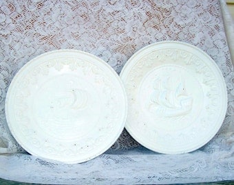 shabby creamy white metal wall plates two ships fathers day gift hand distressed wall plaques