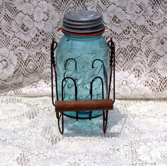 Vintage blue ball jar antique primtive country rusty wire carrier