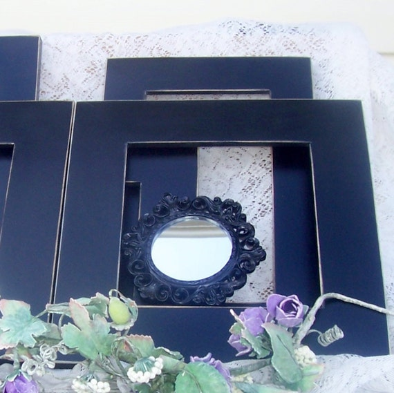 Romantic black  wall frame grouping shabby chic paris apartment weddings seven piece