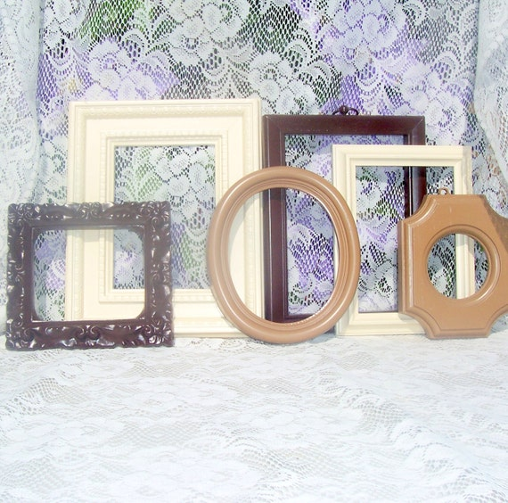 Picture Frames Shabby Chic Picture Frame Set Brown Neutral Gallery Wall Decor