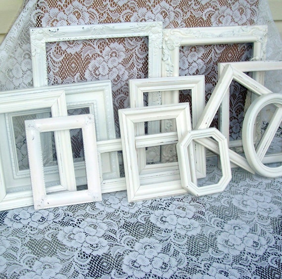 Vintage frames wall grouping Chippy Frames Romantic French Country Weddings Shabby Chic 13 Piece Heirloom White  Large Grping