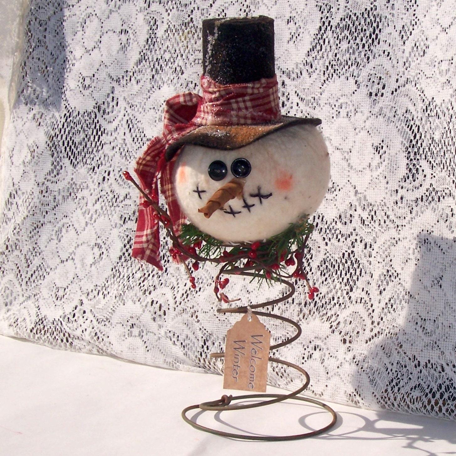 primitive snowman nodder make do ornie tea dyed tree topper. Black Bedroom Furniture Sets. Home Design Ideas