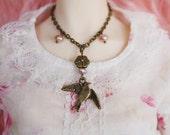 Antique Bronze Songbird Necklace