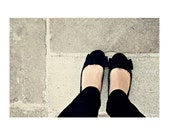 Dolly shoes - whimsical Black Grey White Bow, London Paris 10x8 inch - Fine Art Photography