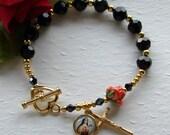 St. Therese Swarovski Crystal Rosary Bracelet