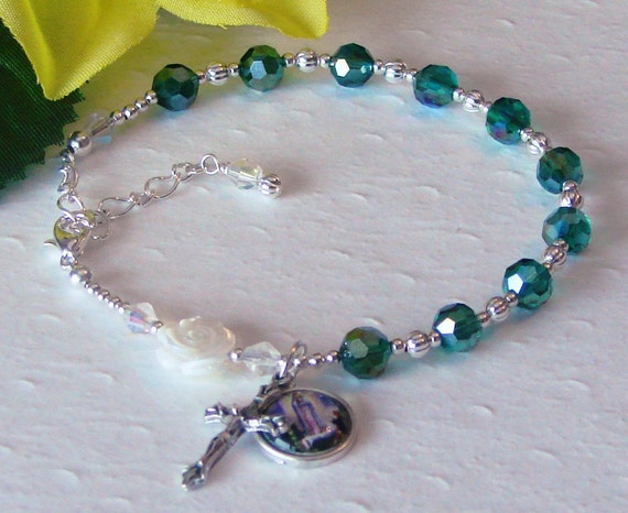 Mother of Pearl Our Lady of Fatima Rosary Bracelet