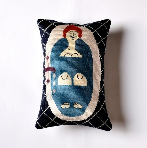 Handmade art&craft needlepoint Lady in Bath Pillow decor design