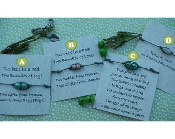 Two Peas in a Pod Thin Leather String Bracelet - Twins Baby Shower Favor