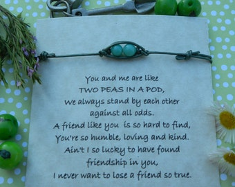 Two Peas in a Pod Thin Leather String Bracelet for your BFFs, Sister, Mom or Anybody Close to Your Heart