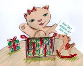 Cat Holiday Greeting Pop-up and Letterpress Card