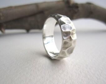 Mens Silver Ring-Wood Cut 1, Men's Wedding Band