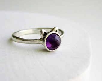 Purple Cat Ring, DEEP PURPLE Amethyst and Sterling Silver, made to order