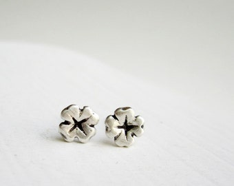 Lucky Clover Silver Stud Earrings, MADE TO ORDER