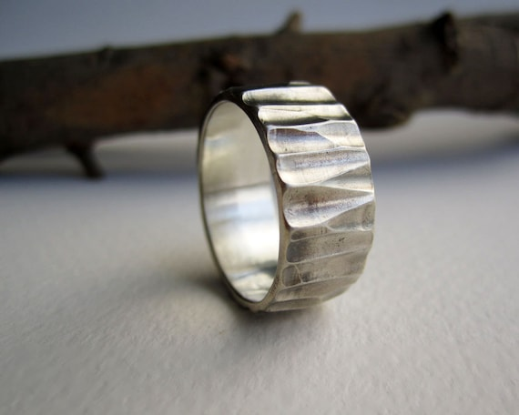 Mens Silver Ring-Wood cut 3, Unique Men's Silver Ring