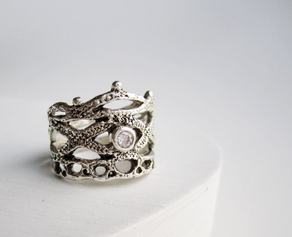 Silver Lace Ring-Style 4 with White Topaz