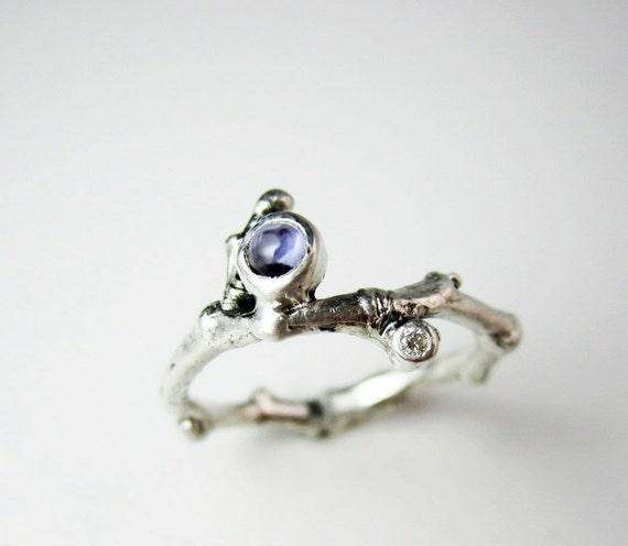 Iolite & Diamond Silver Twig Ring