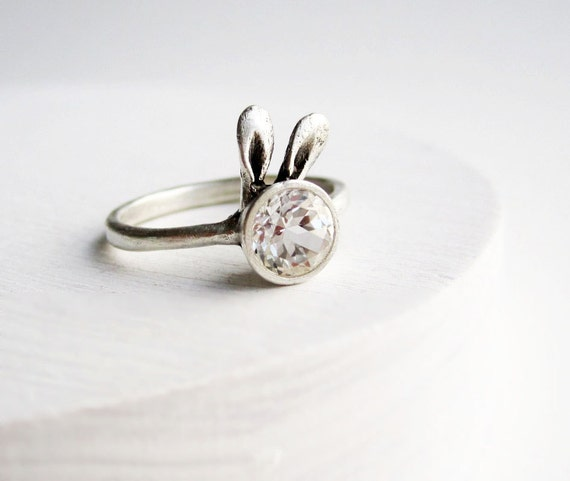 White Bunny Ring, White Topaz Sterling Silver Ring, MADE TO ORDER