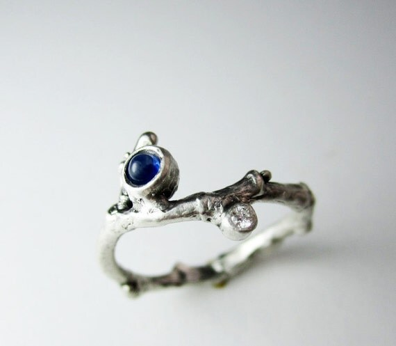 Blue Sapphire & Diamond, Silver Branch Ring,Sapphire Twig ring