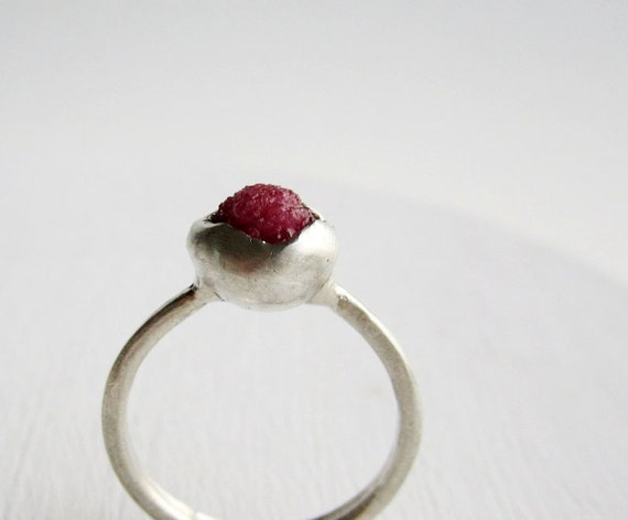 Raw Ruby Silver Ring, OOAK Ring Size 7.25