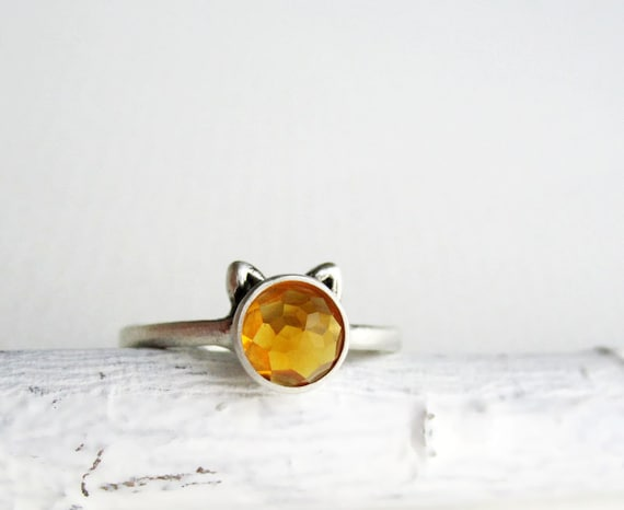 Yellow Cat Ring, Deep Yellow Citrine and Sterling Silver Ring, Ginger Cat Ring