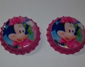 Minnie Mouse Disney Finished Bottle Caps for Scrapbooking Hair Bows Party Favors Pageant Bows Cheering