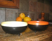 Sale 20% Off Vintage 1960 Yellow and Orange Therm-o-Bowls