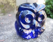 Sale 20% off Vintage Owl - Blenko Glass - Midnight Blue