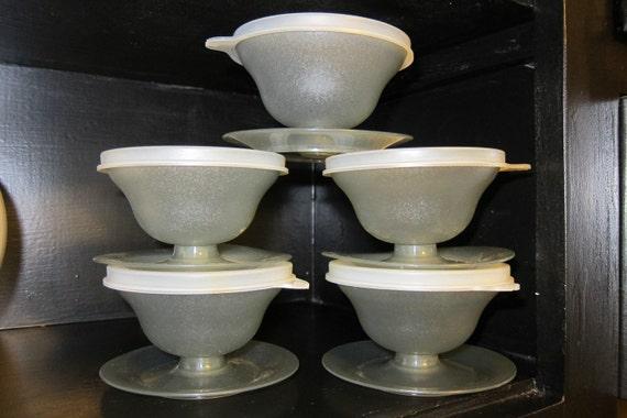 Vintage Tupperware Smokey Grey Dessert Cups With Lids