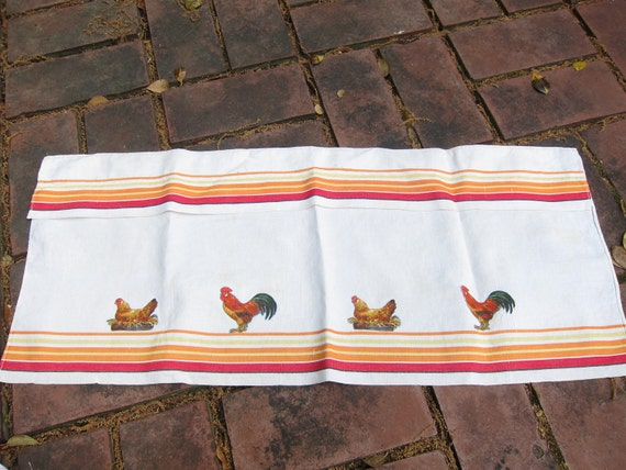 Vintage Chicken Valance - Linen with Red and Orange Stripes