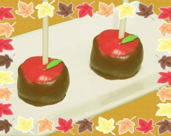 Caramel Apple Cake Pops / 1 Dozen / Halloween, Apple, Cinnamon, Caramel, Cake, Party, Fall