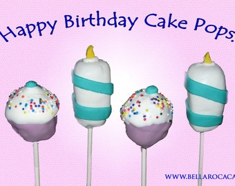 Happy Birthday Cake Pops / 1 Dozen / Children, Birthday, Cake, Chocolate, Vanilla