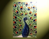 """ORIGINAL Abstract Peacock Painting, Modern Palette Knife Painting, Contemporary Textured Impasto, Blue Green Bird 24x36""""  -Christine"""