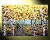 """Original Abstract Tree Painting, Textured Birch Tree Landscape, Pale Blue Brown Gold,  Autumn Gold Trees, Palette Knife 24x36"""" by Christine"""