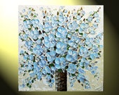 """Original Abstract Painting, Blue Flower Textured Palette Knife Large Modern Art, Blue Brown White, Floral Bouquet 30x30"""" -Christine"""