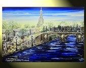 "PRINT Art Abstract Painting Paris Eiffel Tower, Modern Cityscape, Palette Knife, Blue Fine Art, 24x36"" - by Christine"